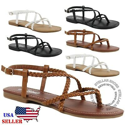 New Womens Braided Strappy Gladiator Thong T Strap Flat Faux Leather Sandals Braided Strappy Sandal