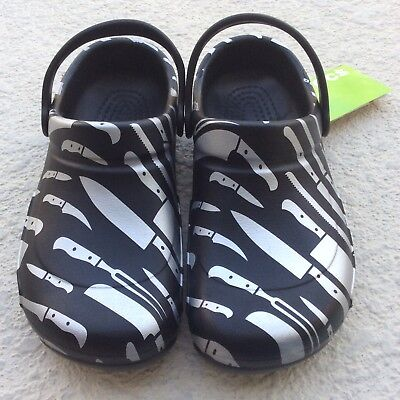 Crocs Bistro Graphic Work Clogs Cook Chef Knives Black Silver Mens 9 Womens 11