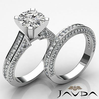 Cathedral Pave Bridal Set Round Diamond Engagement Ring GIA I VS2 Clarity 3.2Ct