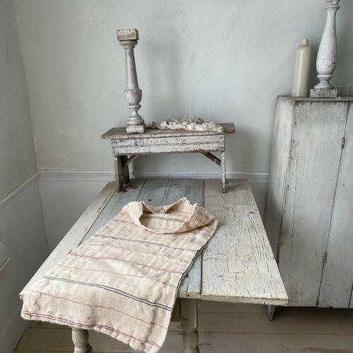 Striped grain sack Folk art textile linen cotton washed linen pillow slipcover