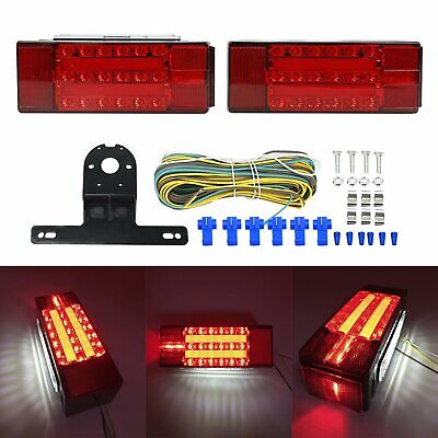 NEW Rectangle LED Submersible Red Trailer Boat Stud Stop Turn Tail Lights Kit