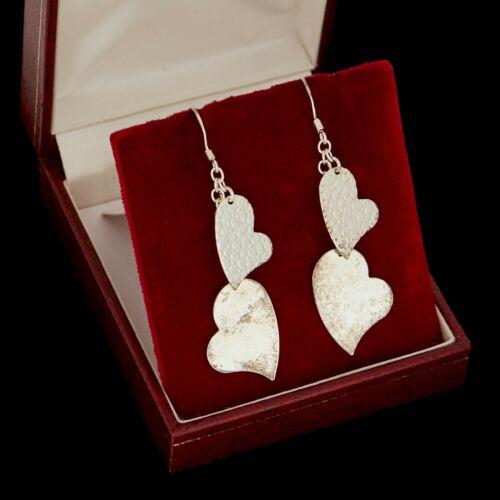 Vintage Designer 925 Sterling Silver Sweetheart Heart Motif Dangle Earrings 3.9g