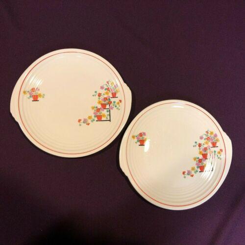 """2 Edwin M Knowles China PENTHOUSE Art Deco Flower Pots 10"""" Plates Yorktown Shape"""