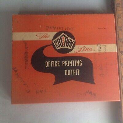 Vtg The Crown Line Office Rubber Stamp Kit A-z Numberssymbols