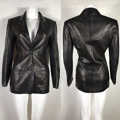 Rare Vtg Gianni Versace Black Leather Jacket XS 38