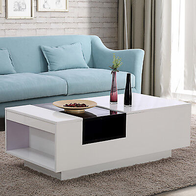Modern Two-tone White and Black Glass Coffee Table Top Center with Side Storage (White Table Top)