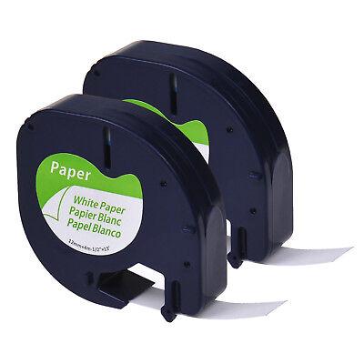 2pk Black On White 12 Paper Label Tape For Dymo Letratag Lt 91330 Qx50 Lt100h
