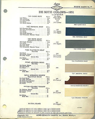 1951 DeSOTO Color Chip Paint Sample Brochure / Chart: ACME, De Soto, '51