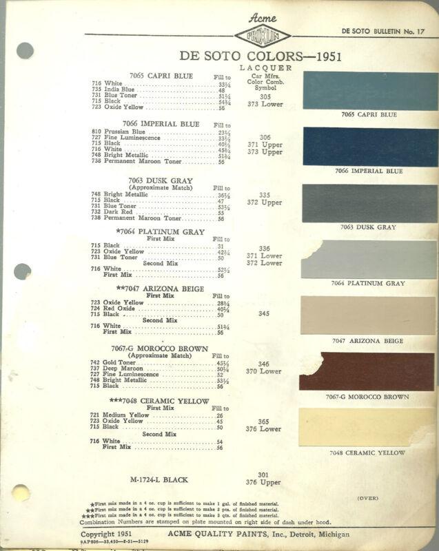 1951 DeSOTO Color Chip Paint Sample Brochure / Chart: ACME, De Soto,