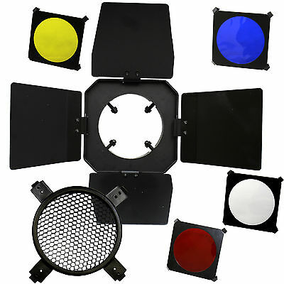 Studio Flash Photo Barndoor w/ Honeycomb Barn Door 4 Color Filter Gel Universal