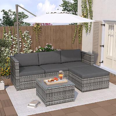Garden Furniture - Rattan Garden Furniture Sofa Set Patio Outdoor Corner Lounge Seat Conservatory