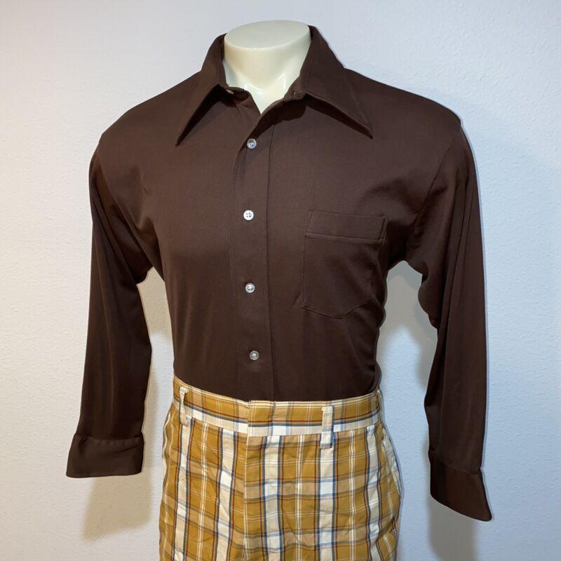 Vtg 60s 70s VAN HEUSEN Shirt Splendor Polyester Brown Disco Hippie MENS XL 17 34