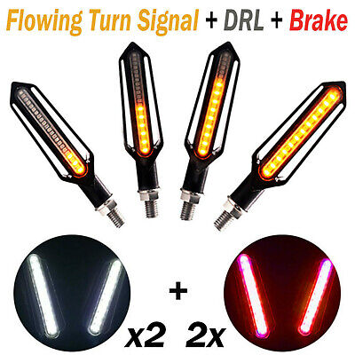 4 X 12LED Turn Signal Lights Indicators Motorcycle Motorbike Amber Flowing Lamp