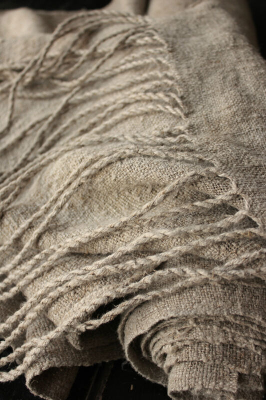 Antique HEMP fabric Upholstery material 7.1 YARDS rustic DARK WASHED  Organic
