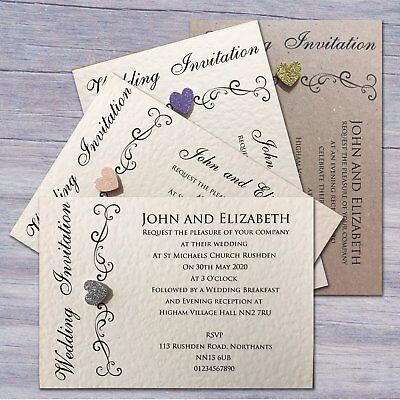 10 Wedding Invitations Evening Invites Personalised & Handmade with Envelopes