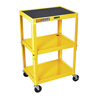 Luxor Metal Utility Cart 24 To 42 Adjustable Height 24w X 18d Shelves Yellow
