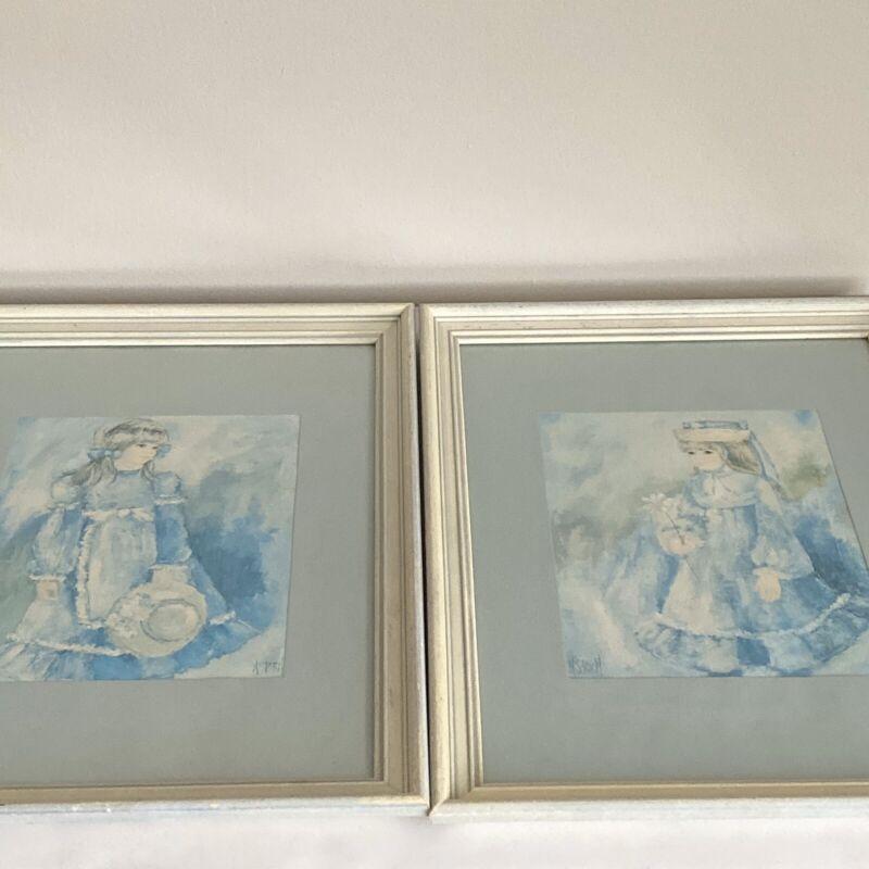 Victorian Girls Blue Dress Wall Art Set