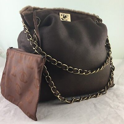 AUTHENTIC CHANEL SHEEP SKIN BROWN SHEARLING BAG TOTE GOLD CHAIN TURN LOCK RARE