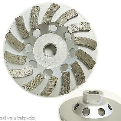 4 Spiral Turbo Diamond Cup Wheel For Concrete Grinding 14 Segs 58-11 Arbor
