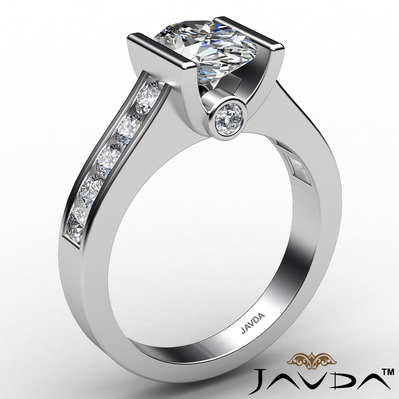 Oval Diamond Engagement Bezel Setting Ring GIA, E Color & SI2 clarity 1.4 ctw. 3