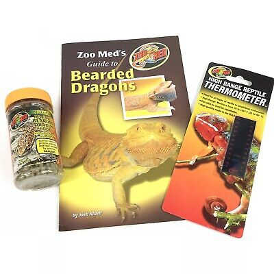 Zoo Med High Range Reptile Thermometer & Juvenile Bearded Dragon Food & -