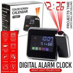 Digital LED Projection Alarm Clock Weather Thermometer Snooze Backlight Calender