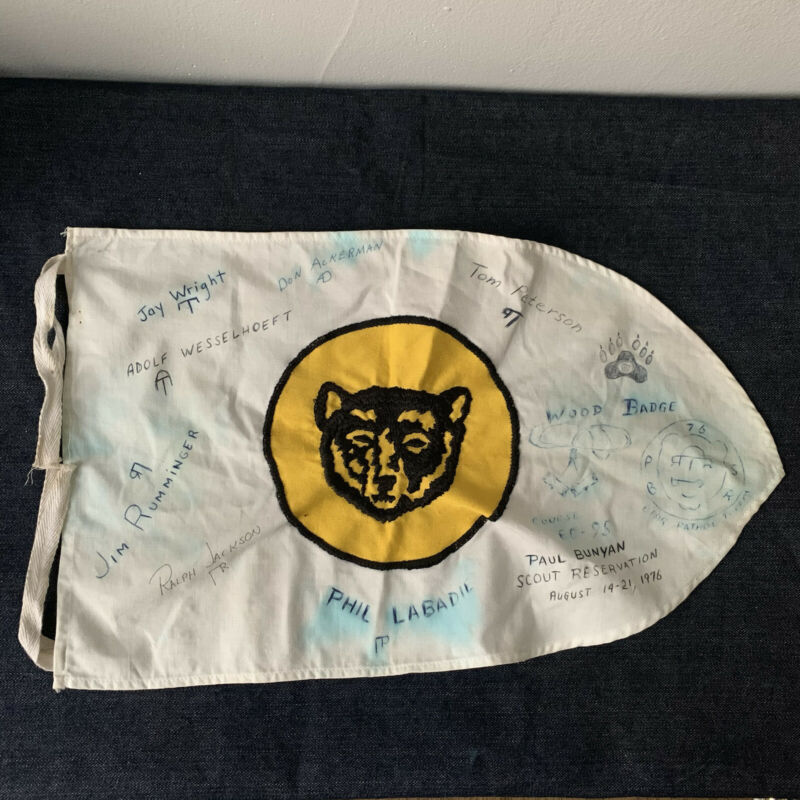 Vintage Cub Scouts Embroidered Flag Signed White 1970s Used