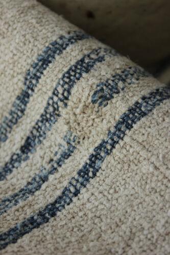 Antique GRAIN SACK natural indigo blue Primitive WONDERFUL textile c1850 HJ mono