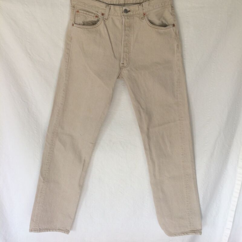 Levi's Mens 501 Jeans 34W x 34L Creme Tan Brown Stitch Button Fly Blank Red Tag