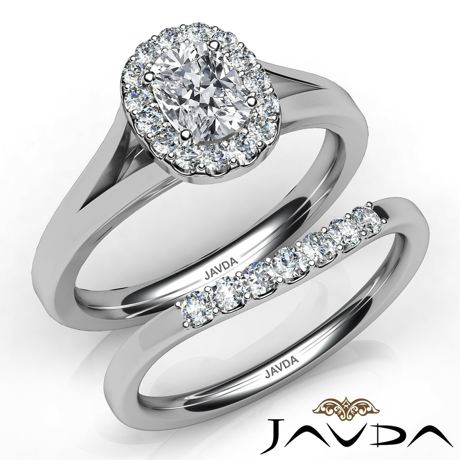 1.44ctw Cathedral Style Bridal Cushion Diamond Engagement Ring GIA I-VVS1 W Gold