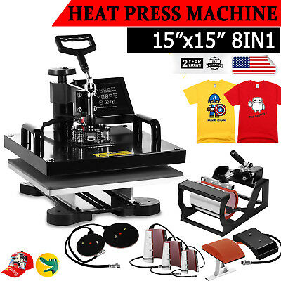 "Digital 15""X15"" Transfer Heat Press Machine Sublimation T-Shirt Cap Swing-away"