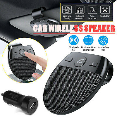 Wireless Car Bluetooth5.0 Speakerphone Hands-Free Speaker Phone Visor Clip R2P3
