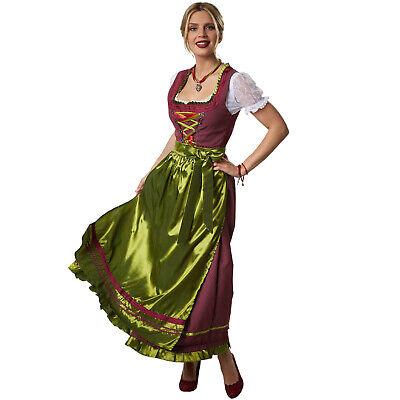 Women´s German Dirndl Dress Red Green Fancy Oktoberfest Bavarian Costumes