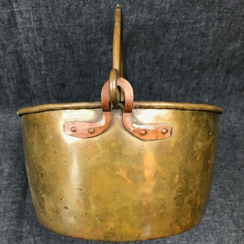 Antique Brass and Copper Cauldron Kitchen Pot with Handle 9.5""