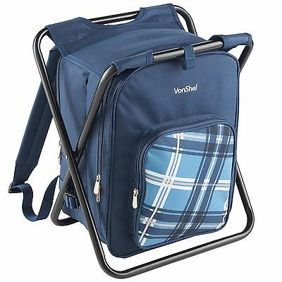 VonShef Picnic Backpack and Lightweight Stool Outdoor Activity Camping (Lightweight Picnic Backpack)