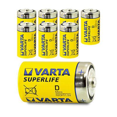8x Varta Mono D Superlife LR20 MN1300 Typ 2020 Batterie 1,5V Zink-Kohle 8 Stk