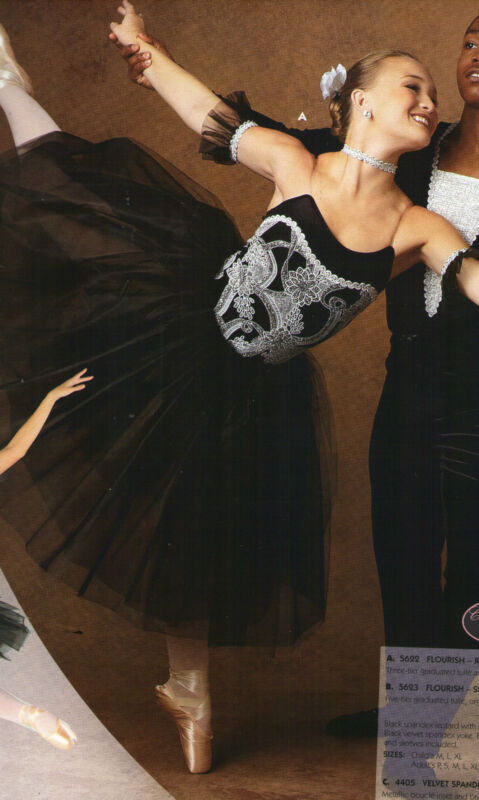"""Romantic BALLET COSTUME GLITTERED Silver Black Ladies Attached tulle skirt 24"""""""