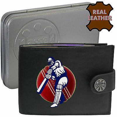 Cricketer Batsman Cricket Ball Mens Wallet Black Leather Sport gift Metal Box