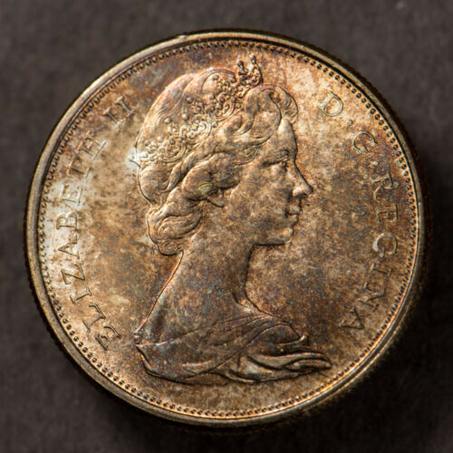 1965 Canada 50C Silver Fifty Cents ** TEXTURED ORANGE GOLD TONING! Lot#R014