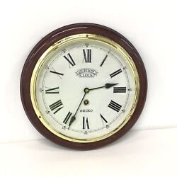 Round Wooden & Brass Seiko Station Wall Clock Quartz Made In Japan #303