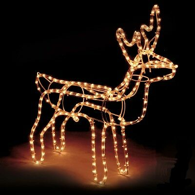 Large Christmas Reindeer Light Up Outdoor Garden Rope Decoration Silhouette ()