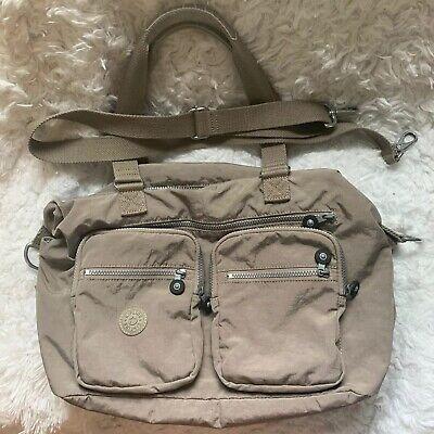 Kipling Nylon Large Beige Handbag With Crossbody Strap