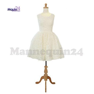 Kids Body Form Mannequin 11-12 Yr Child Torso Dress Form With Wooden Base