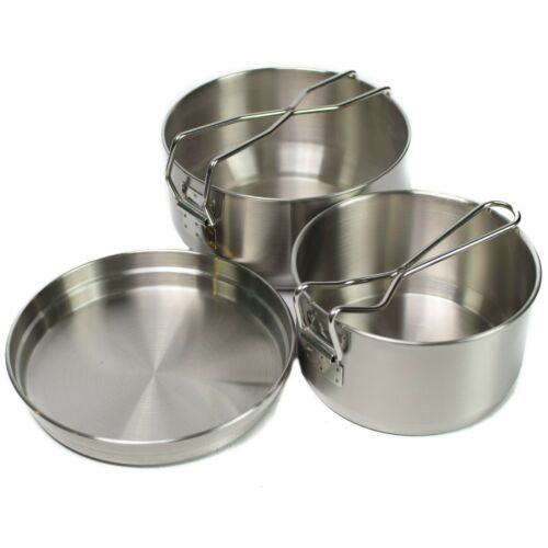 Czech Army Bushcraft Camping Cooker Military Stainless Mess Kit cookware 3 parts