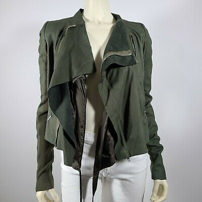 RICK OWENS Green Leather Moto Jacket