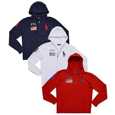 Polo Ralph Lauren Womens Sweatshirt Full Zip Usa Hoodie Big Pony Flag Jacket Prl