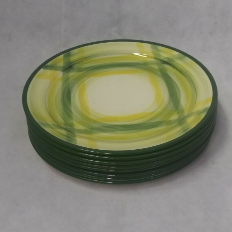 Vernon Gingham Luncheon or Dinner Plates Set of 8 Green Yellow Plaid 9 3/4""