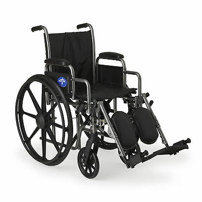 "Medline K2 Basic Wheelchair with 16""x16"" Seat, Elevating Leg"