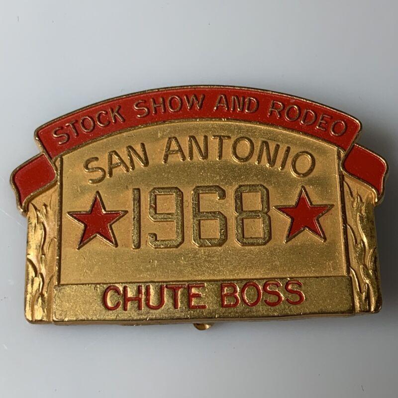 San Antonio Stock Show And Rodeo 1968 Chute Boss Badge Pin