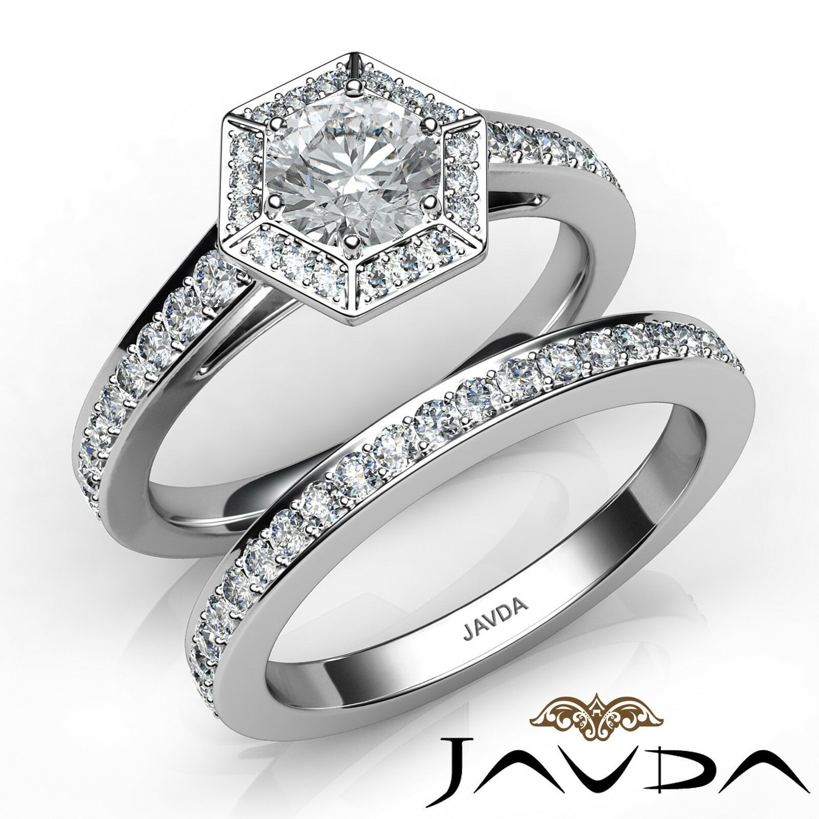1.6ctw Hexagon Halo Bridal Set Round Diamond Engagement Ring GIA F-VVS2 W Gold